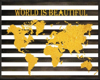 world map gold, world map print, world map decal, world map kids room, world map kids decal, world map kids print, world map decor