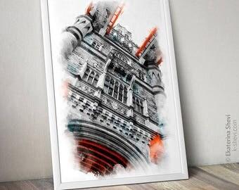 Wall Art Print. London. Tower bridge. photography, architecture, decor, travel photography,