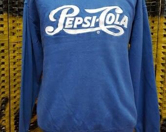 Vintage PEPSI COLA / big embroidery logo / Large size sweatshirt