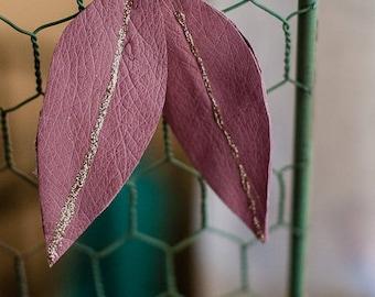 Mauve leather leaf earrings