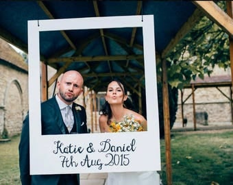 Wooden Hand Painted Polaroid Frame, With Personalised Name & Date