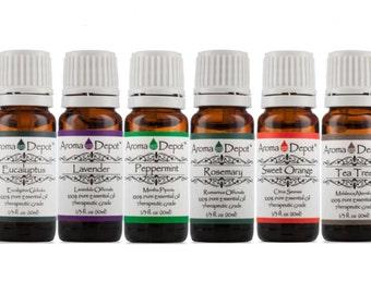 Essential Oil set- 6 Set - 100% Pure, Undiluted, Therapeutic Grade 10 ml.