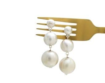 Silver Metallic Bonbon Earrings, Disco Ball Earrings, Statement Earrings, Triple Ball Earrings, Metal Bonbons, Gum Drop Earrings