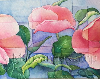 Original Watercolor Painting, Flowers In Boxes, Modern Wall Art
