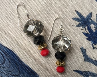 Silver Crystal Drop Dangle Earrings Black Red Gold Sterling Silver 925