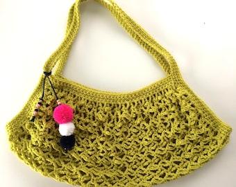 Crochet Market Bag with pompoms