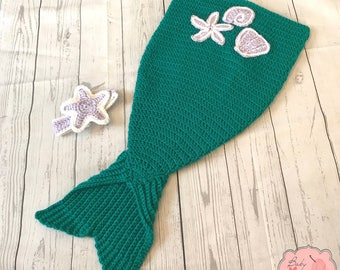 Mermaid Tail Infant Newborn Baby Outfit Headband Cocoon Sack Bundle Crochet Photography Photo Prop