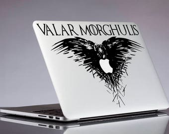Three eyed raven decal; Valar morgulis game of thrones glitter sticker for laptop, macbook, car, notebook, tablet, phone, mac