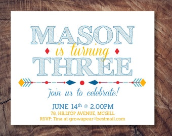 Boy Birthday Invitation/Arrows Birthday Invitation/Colourful birthday Invitation/Fun Birthday Invite
