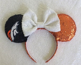 Denver Broncos inspired Mickey Mouse ears headband
