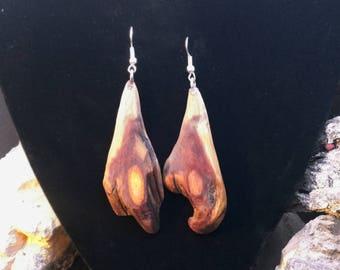 Natural Tear Drop Shape Wood Slab Cedar Dangle Earrings