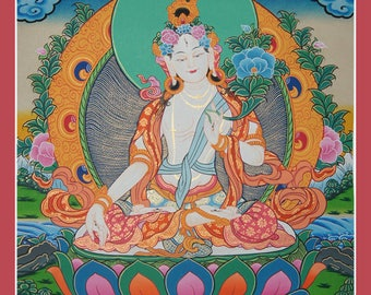 55 x 42 cm Goddess White Tara Thangka Original Painting on Canvas