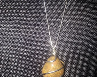 "Wire wrapped Jasper pendant with 20"" Sterling silver box chain"