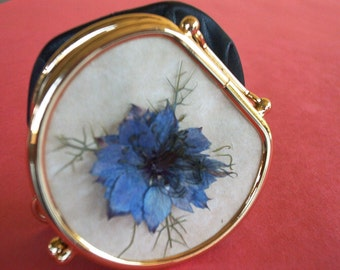 Coins Bag Hand Made Black leatter - Nigella Blue GR000110