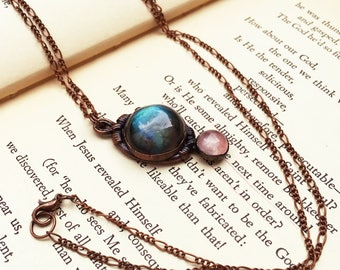 Labradorite Copper Necklace, Pink Rose Quartz and Labradorite Necklace, Teal Crystal Necklace, Healing Crystal Electroformed Copper Jewelry