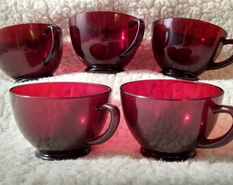 Ruby Red Glass Tea Cups Set of 5
