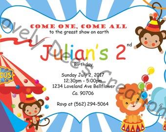 Circus Invitation, Carnival Birthday Invite, Circus Birthday Invitation