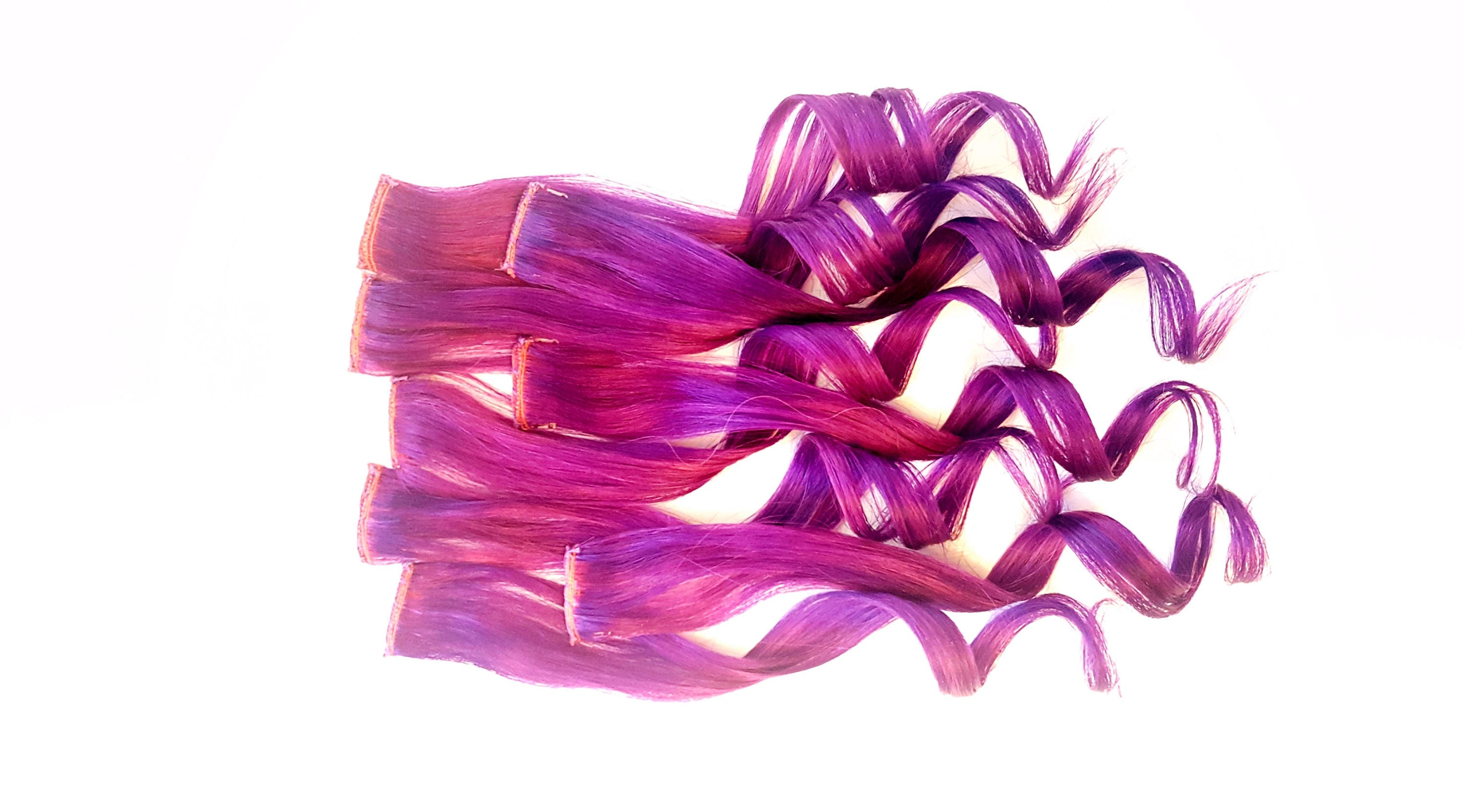Purple Magenta Pink Unicorn Rainbow Colored Clip In Hair Extensions