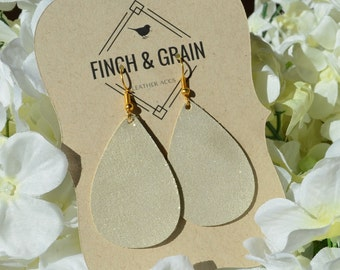 Glittery Gold Leather Earrings. Genuine leather, handmade, lightweight, and chic!
