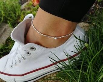 Anklet, Beach Anklet, Ankle Bracelet, Beaded Anklet, Silver Anklet, Charm Anklet, Beaded Anklet, Festival Anklet, Summer Anklet, Boho, Gift