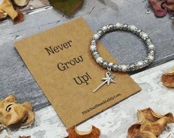 Magic Wand Bracelet, Never Grow up Bracelet, Magic wand Charm, Fantasy Bracelet, Magic Pearl Bracelet, Fairy Wand Bracelet, Believe Bracelet