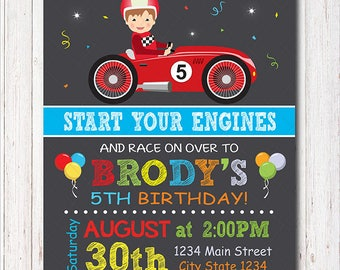 Race Car Birthday Invitation, Race Invitation, Racing Car Invite, Boys Birthday, printable