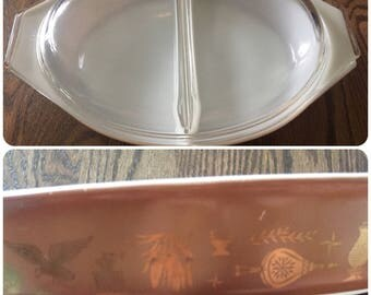 Vintage Early American Pyrex Casserole 1 1/2 Qt