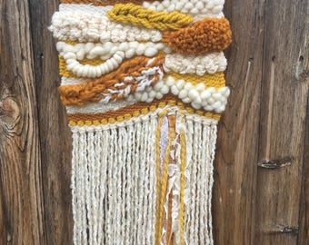 Cream Yellow Textured Weaving, Wall Hanging, Art, Unique Gift