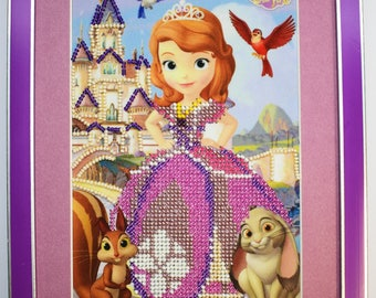 Decor Picture  for children's room gift for girls embroidery beads princess Sofia handmade beaded picture
