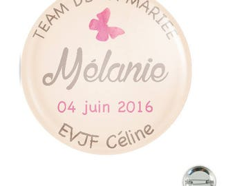 Bachelorette party customizable 38MM badge / Butterfly