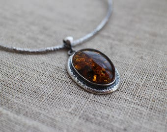 Baltic Amber and Sterling Silver Pendant