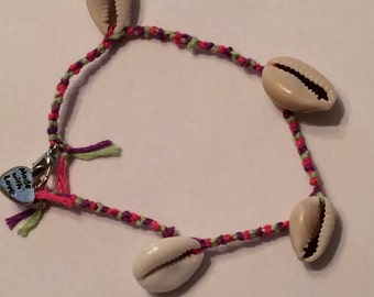 Green, Purple, and Pink Friendship Bracelet