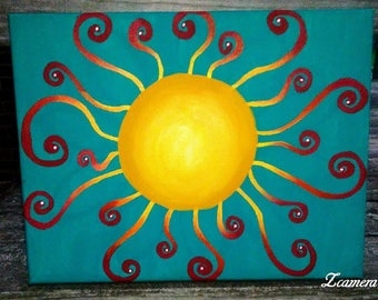 "18x14 acrylic sun painting, ""A Ray of Flint"""
