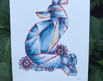 Floral Fox Painting, Linoleum Print, Watercolor, Linocut, Block Print, Wall Art, Home Decor