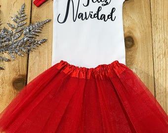 Feliz navidad onesie, feliz navidad baby, santa onesie, holiday baby girl, christmas onesie, christmas baby girl, my first christmas