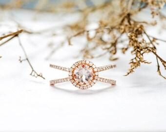 ON SALE!!! Rose Gold Morganite Engagement Ring Halo Diamond Split Shank Cage Eternity Wedding Ring Antique Bridal Anniversary Gift ForWomen