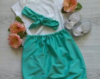 Aqua Skirt White Detailed Onesie Knotted Headband