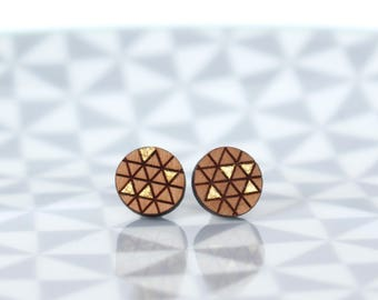 Circle & Triangle - wooden earstuds with gold
