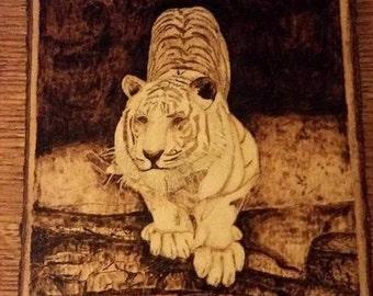 Siberian Tiger Woodburning