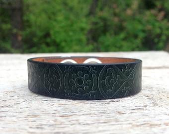 CUSTOM HANDSTAMPED CUFF - bracelet - personalized by Wildflower Cuffs and Stuff - thin dark green design cuff