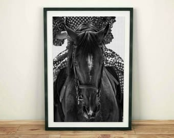 Horse Wall Print, Large Printable Wall Art, Black and White, Digital Download Print, Horse Decor, Printable Art, Large Prints, Home Decor