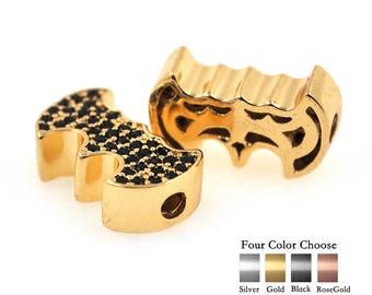 1Pcs SuperHero Batman Charms Bead Pave Black CZ fit Men DIY Beaded Bracelet Making Jewelry Findings 13x8mm