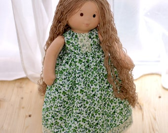 Waldorf Doll Wabi Sabi Doll With light brown Hair Waldorf toy Soft Ragdoll Doll With Long Curly Hair 18 Inch Doll Nature toy Eco doll