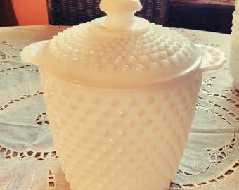 Hobnail milk glass ice bucket with lid