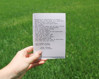 Jack Johnson Better Together Lyric Greeting Card Handtyped Typewriter