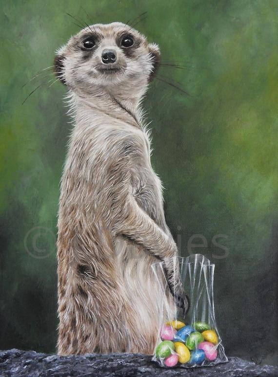 meerkat print meerkat painting meerkat art meerkat artwork
