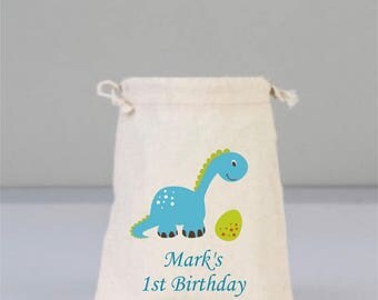 Birthday Personalized Bags with Dinosaur, Birthday Party Decorations , Birthday Party Gift, Children  Gifts, Cotton Bag Drawstring