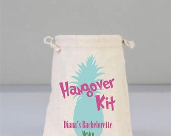 Bacholerette Party Hangover Kit, Drawstring Mini Pineapple Favor Bags,  Wedding Party Favor