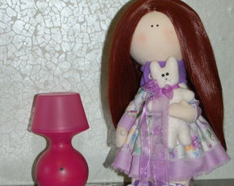 Interior Textile Doll with Kitty OOAK