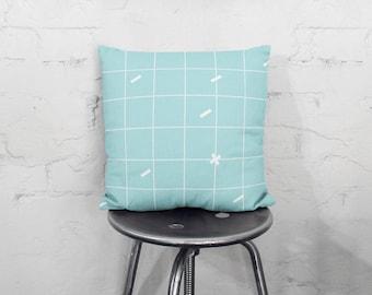 Blue Grid Throw Pillow, Throw Pillow, Geometric Pillow, Minimalist Throw Pillow, Blue Throw Pillow, Pillow, Cute Pillow, Geometric Decor